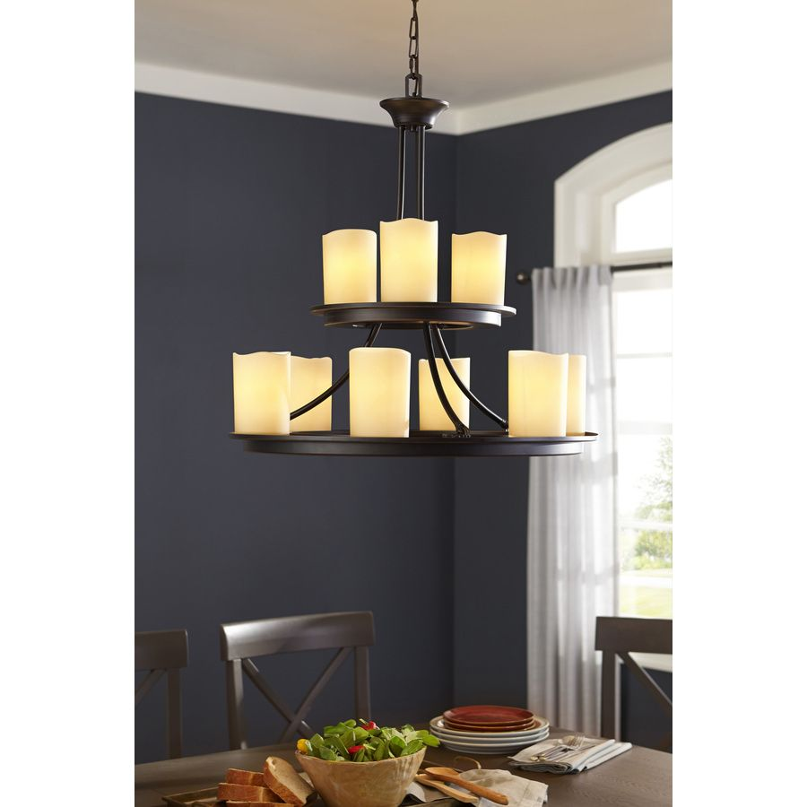 shop allen roth harpwell 9 light oil rubbed bronze chandelier at rh pinterest com