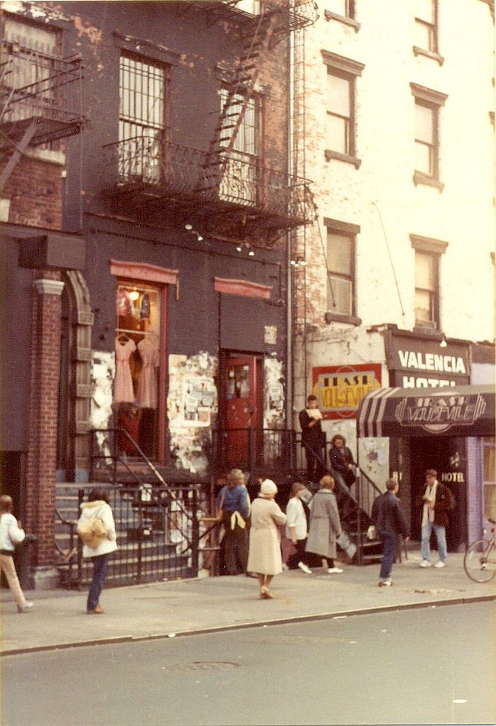 Saint Marks Place, New York City (1982) is part of Clothes Photography New York -  photo by Paul Wright This is Saint Marks Place as it looked in November 1982  The shop with dresses hanging up in the window is Trash and Vaudeville, which is famous for supplying stars like The Ramones and Debbie Harry of Blondie with clothing during the golden age of punk rock in the 1970s and 80s  The store opened in 1975 and is still in its original location  Next door is the Valencia Hotel which was home to beat writer William S  Burroughs in the early 1970s  In the 1980s punk rock singersongwriter GG Allin lived there  The hotel is now the St  Mark's Hotel  Trash and Vaudeville 4 Saint Marks Place New York NY 10003