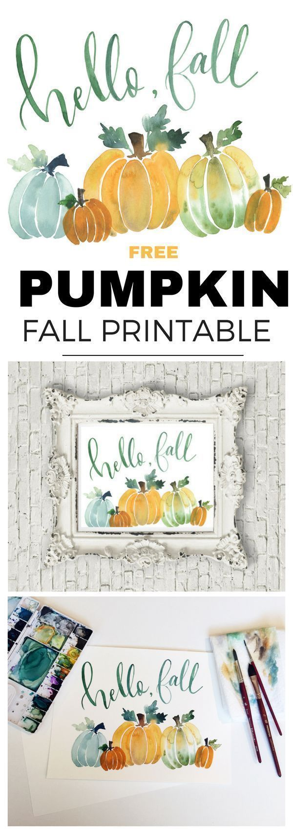 Watercolor Fall Pumpkin Printable #hellofall
