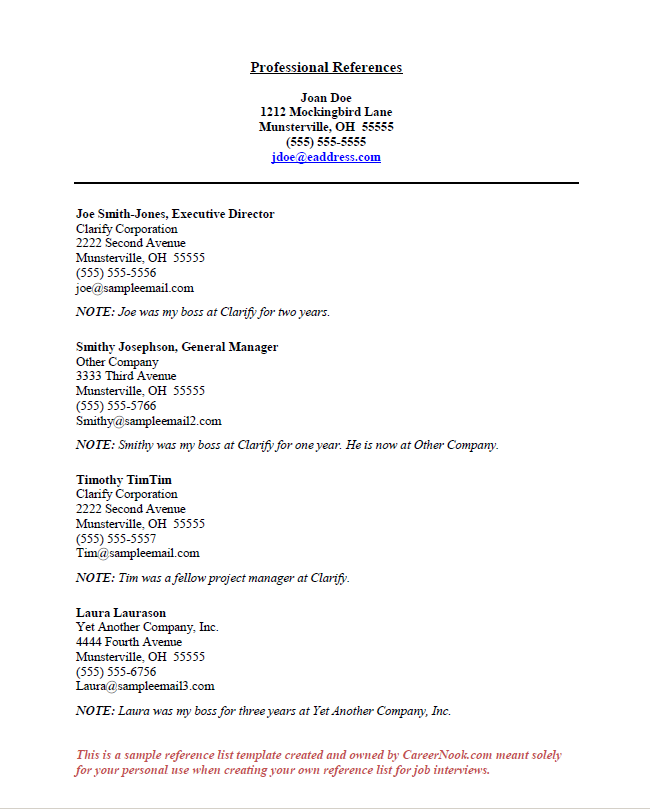example of a reference page for a resume