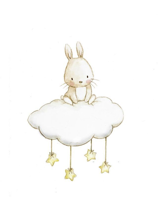 Bunny Cloud Stars Baby Blanket And Quilt Bunny Art