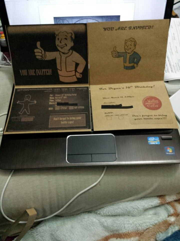 Fallout themed invitations for birthday party Gamer