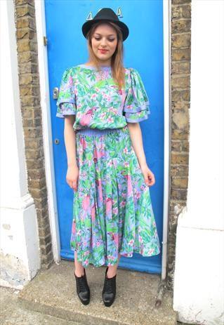 Vintage Diane Fres Floral Dress  5c4d18a69ae