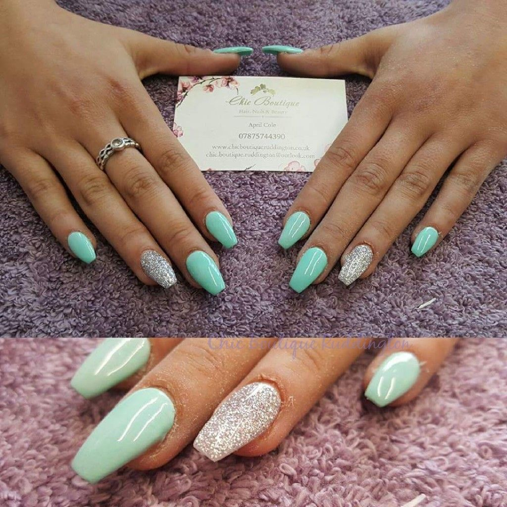 Mint Green And Silver Acrylic Nails Gel Polish Rounded Acrylic Nails Mint Green Nails Green Acrylic Nails