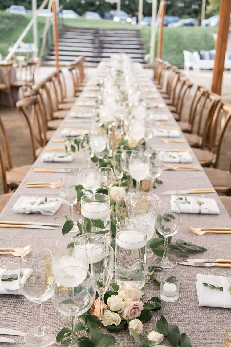 Wedding At Tranquility Farm Garland And Candle Centerpiece For