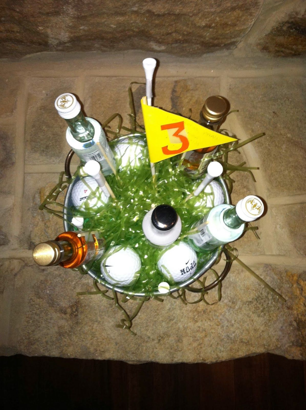 Golf gift basket table centrepiece with booze love it