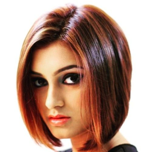 dark red blunt cut hair bob