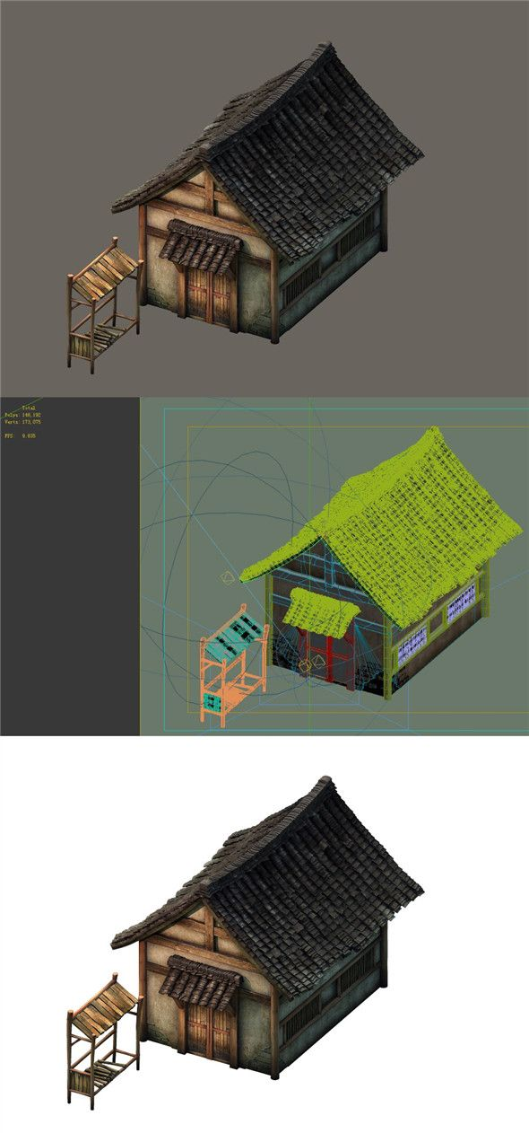 game model small village wooden house 02 3d model of a building rh pinterest com