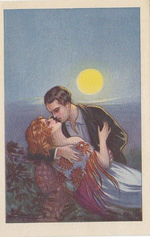 Adolfo Busi - Romantic couple kissing - Moonshine - Art Deco
