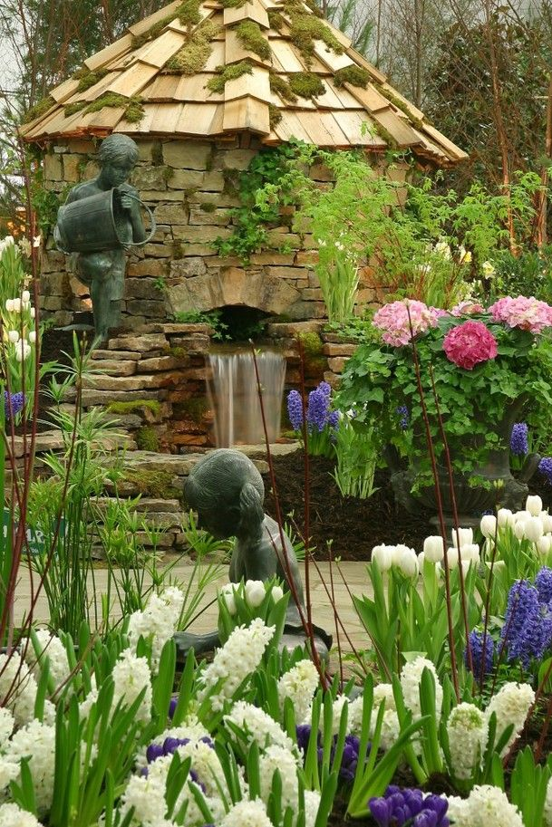 Backyard Water Feature spring home water flowers