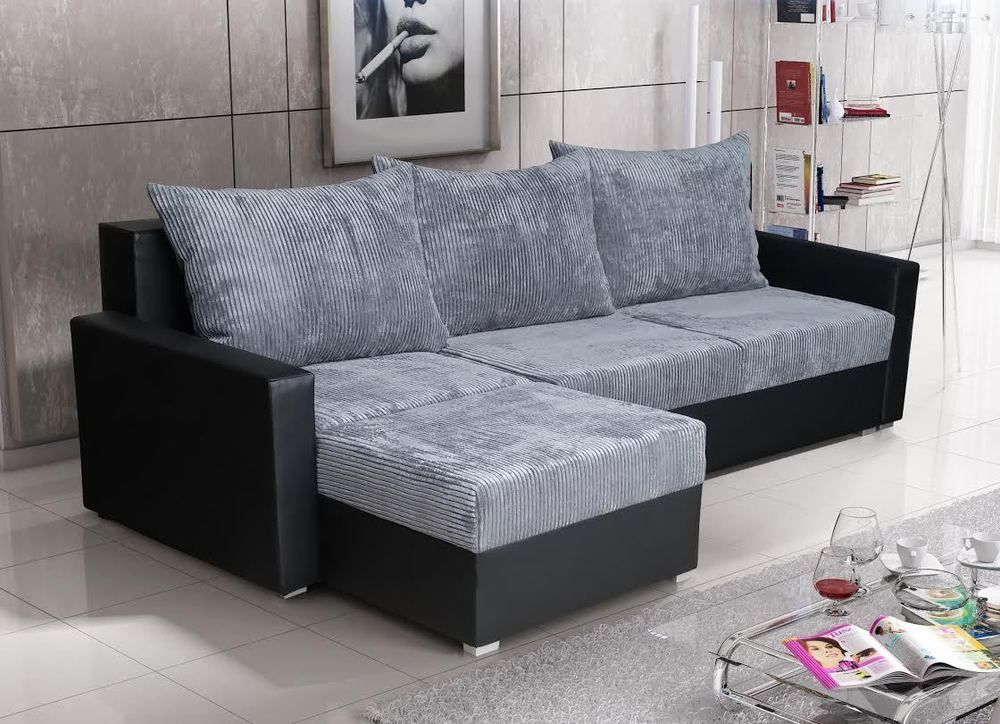 Brand New Corner Sofa Bed Gray And Black With 2x Storage Luton Ebay Grey Sofa Bed Corner Sofa Sofa Bed