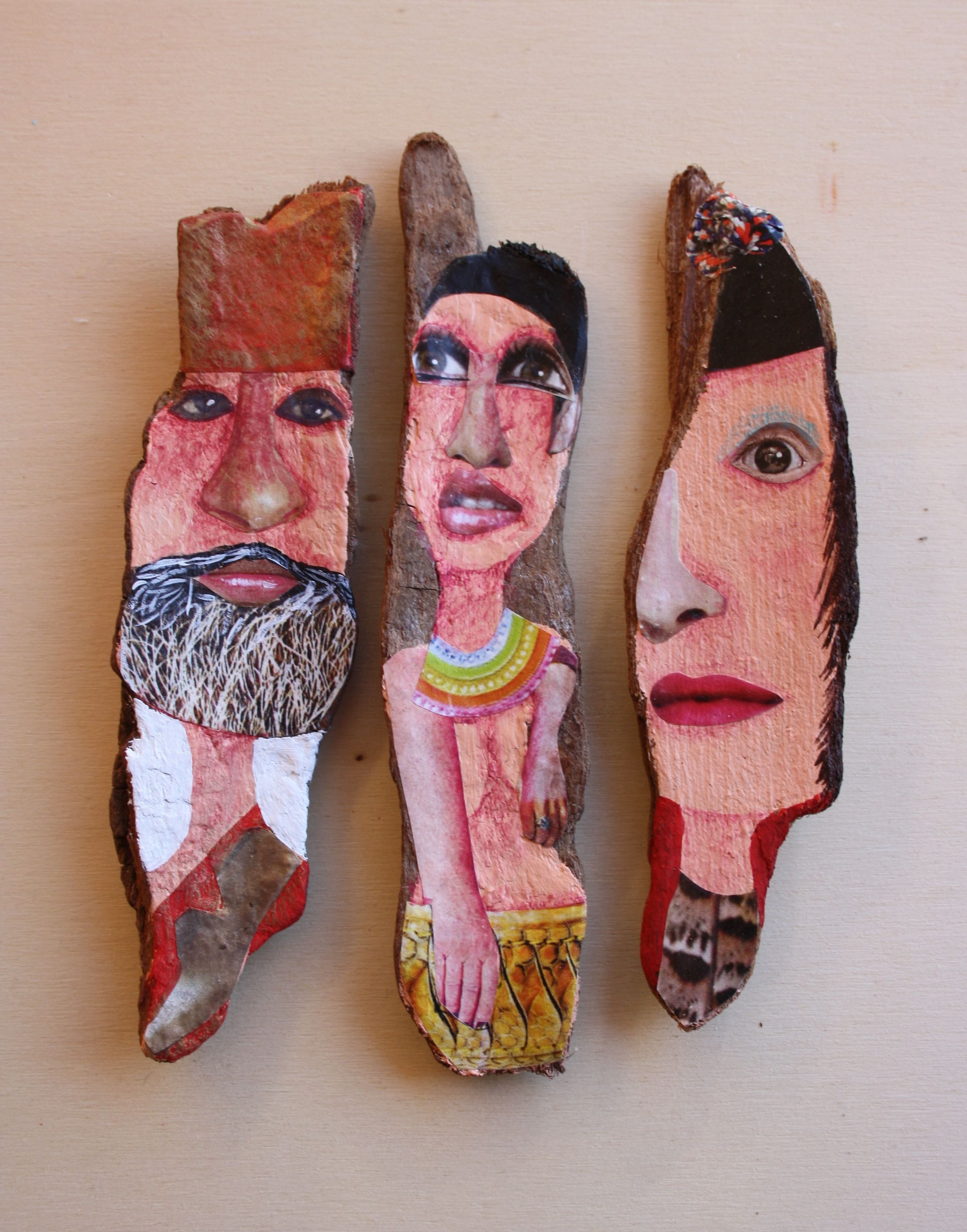 'People'. Acrylic and mixed media on cork oak driftwood from Northern Spanish coast. By Ginny Rose, 2015