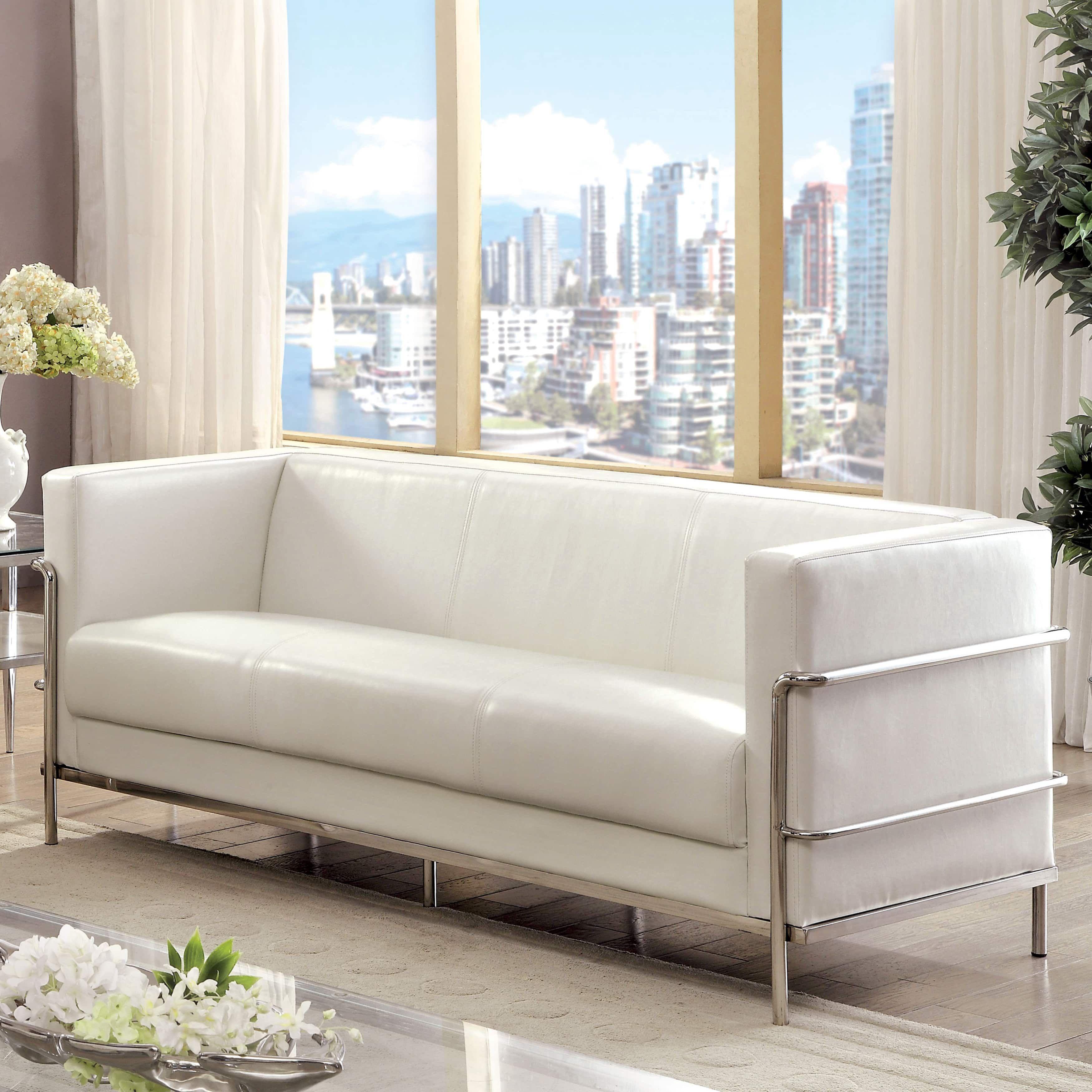 furniture of america sonica contemporary tuxedo style leather sofa rh pinterest co uk
