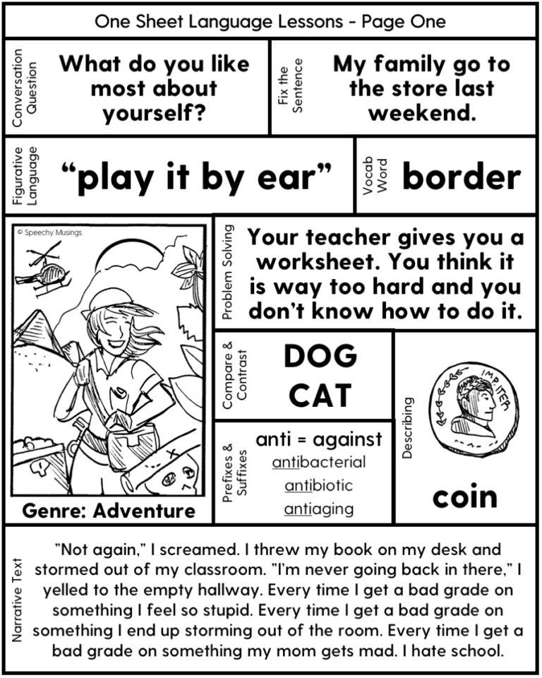 Speech Therapy Printables for Upper Grades: One Page Lessons