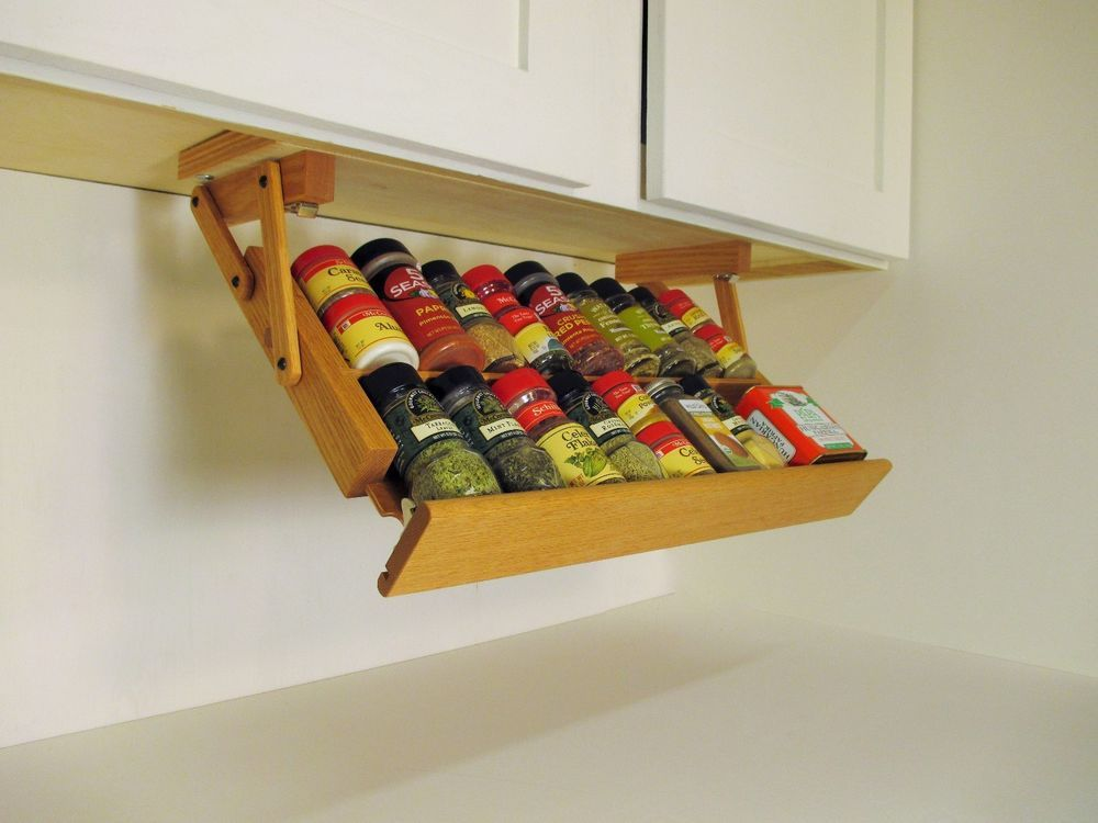 Under Cabinet Spice Rack By Ultimate Kitchen Storage Handcrafted Pull Down  Racks