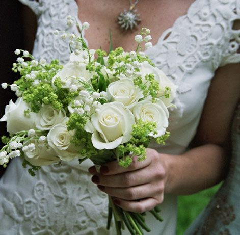 Sweet Hand Tied Bridal Bouquet White Roses Lily Of The Valley Greenery