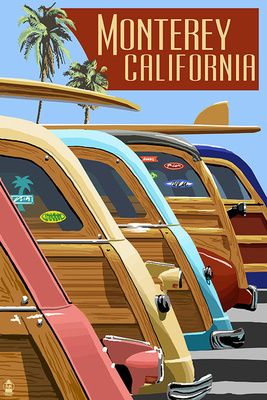 This site has a MOTHERLOAD of vintage signs, great for travel blogging! Monterey, California - Woodies Lined Up - Lantern Press Poster