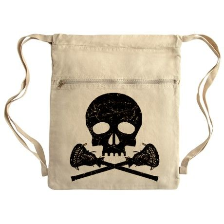 Lacrosse Skull and Crossbones bag. Skull and Crossbones made with Lacrosse Sticks. Distressed gritty image. By MegaSharkDesign.com