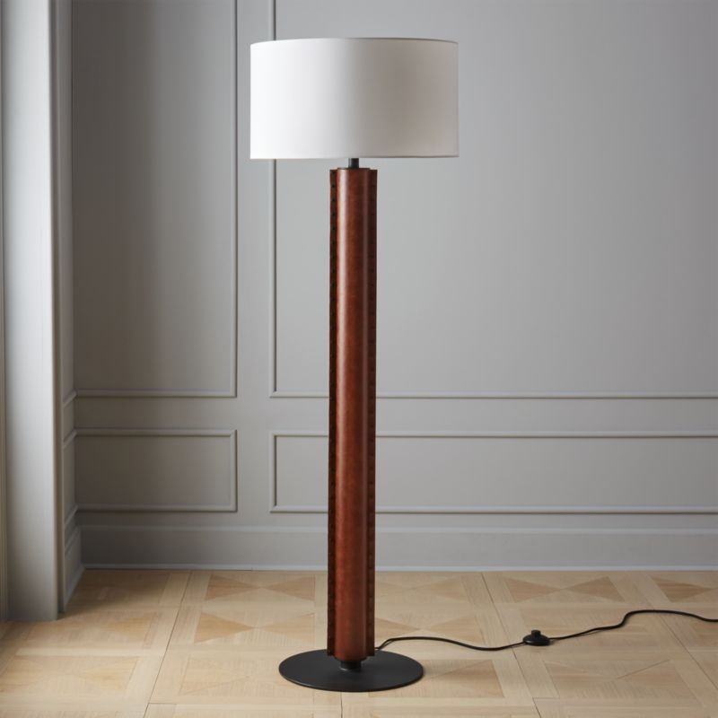 Rivet Brown Leather Floor Lamp With Images Floor Lamp