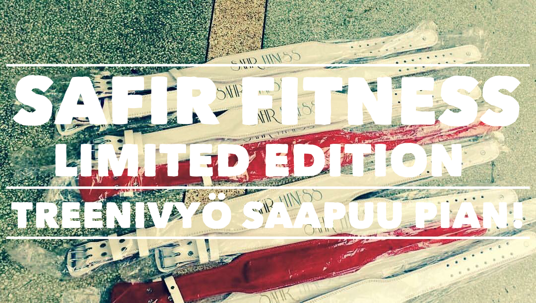 Safir Fitness Limited Edition Treenivyö saapuu verkkokauppaamme lähiviikkoina! Tätä nahkaista treenivyötä on valmistettu vain rajoitettu erä.  Tulemme jatkossa myymään perus-sarjan treenivyötämme erilaisella suunnittelulla ja grafiikalla hintaan 39.90€.   Hanki tästä jotain uniikkia mukaan kuntosalille.