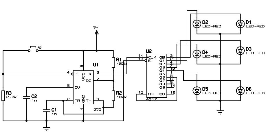 circuit diagram of unbiased digital dice with leds electronicshub