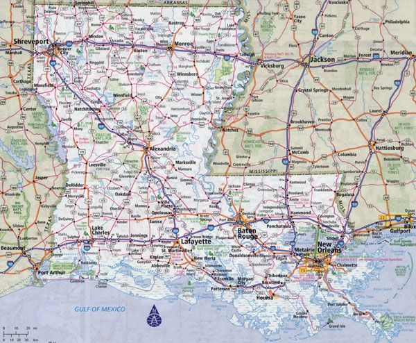 Road Map Of Louisiana Large detailed roads and highways map of Louisiana state with all