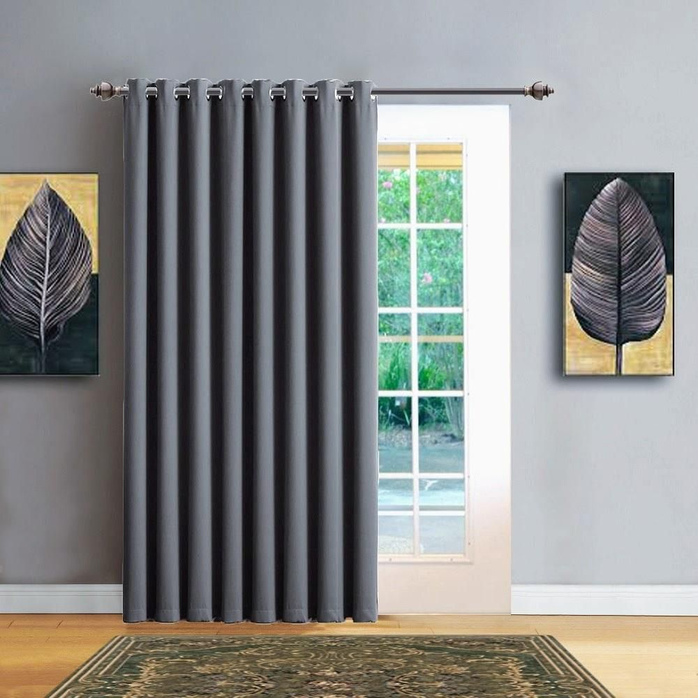Warm Home Designs Extra Wide Blackout 102 Light Grey Patio Door Curtains