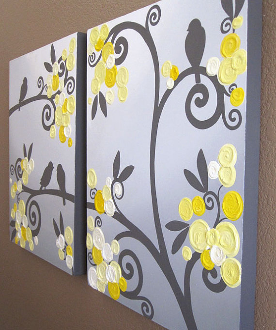 Wall Art Yellow Grey Flowers And Birds Textured Acrylic Painting On Canvas Set Of Two 18x24 Made To Order