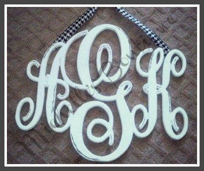 Interlocking Script Wooden Monogram by MichellesBoutique09 on Etsy, $65.00