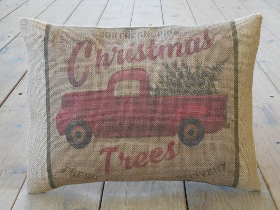 Christmas Trees Burlap Pillow Vintage Truck Rustic Christmas