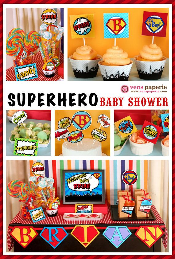 Superhero Baby Shower Package Personalized FULL Collection Set   PRINTABLE  DIY   BS825CA1x