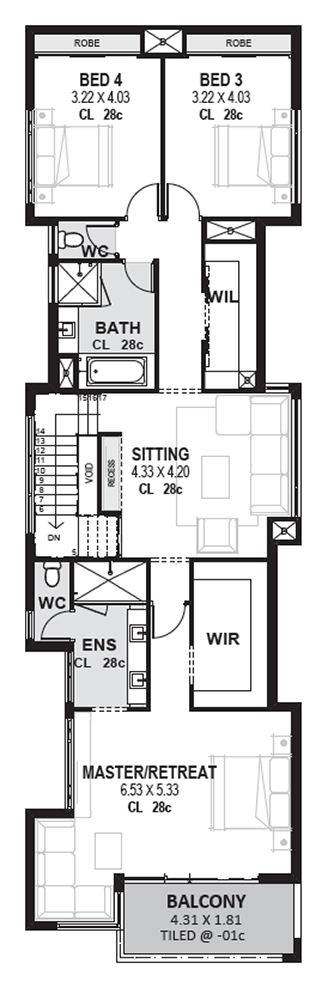 Edge Luxury 10m Wide 2 Storey Home For Narrow Lots Novus Homes Narrow House Plans Narrow Lot House House Plans