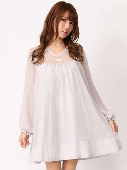 Georgette Front Tulle x Ribbon OP (Ivory)