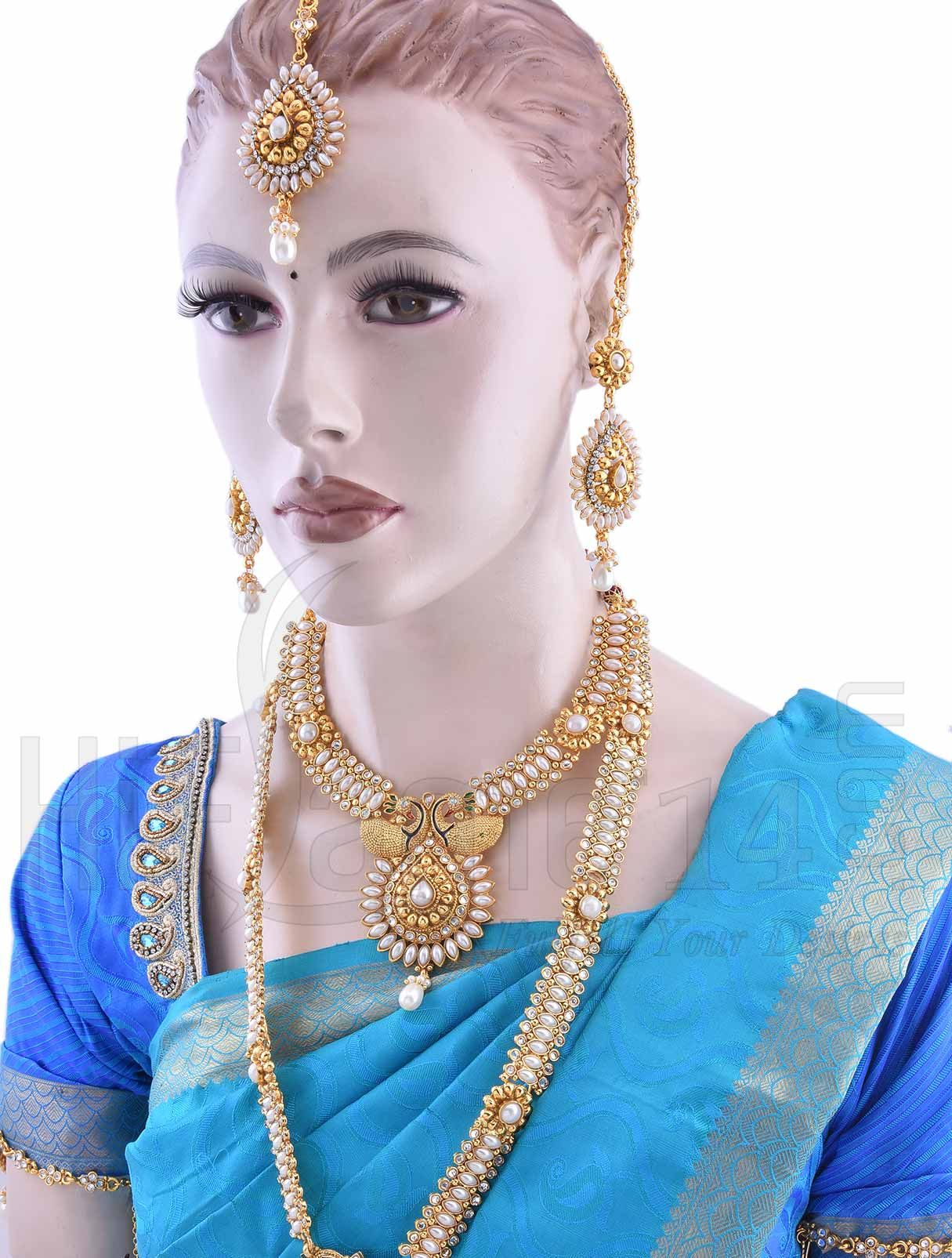 bridal jewellery set with white beads | indian bridal jewelry