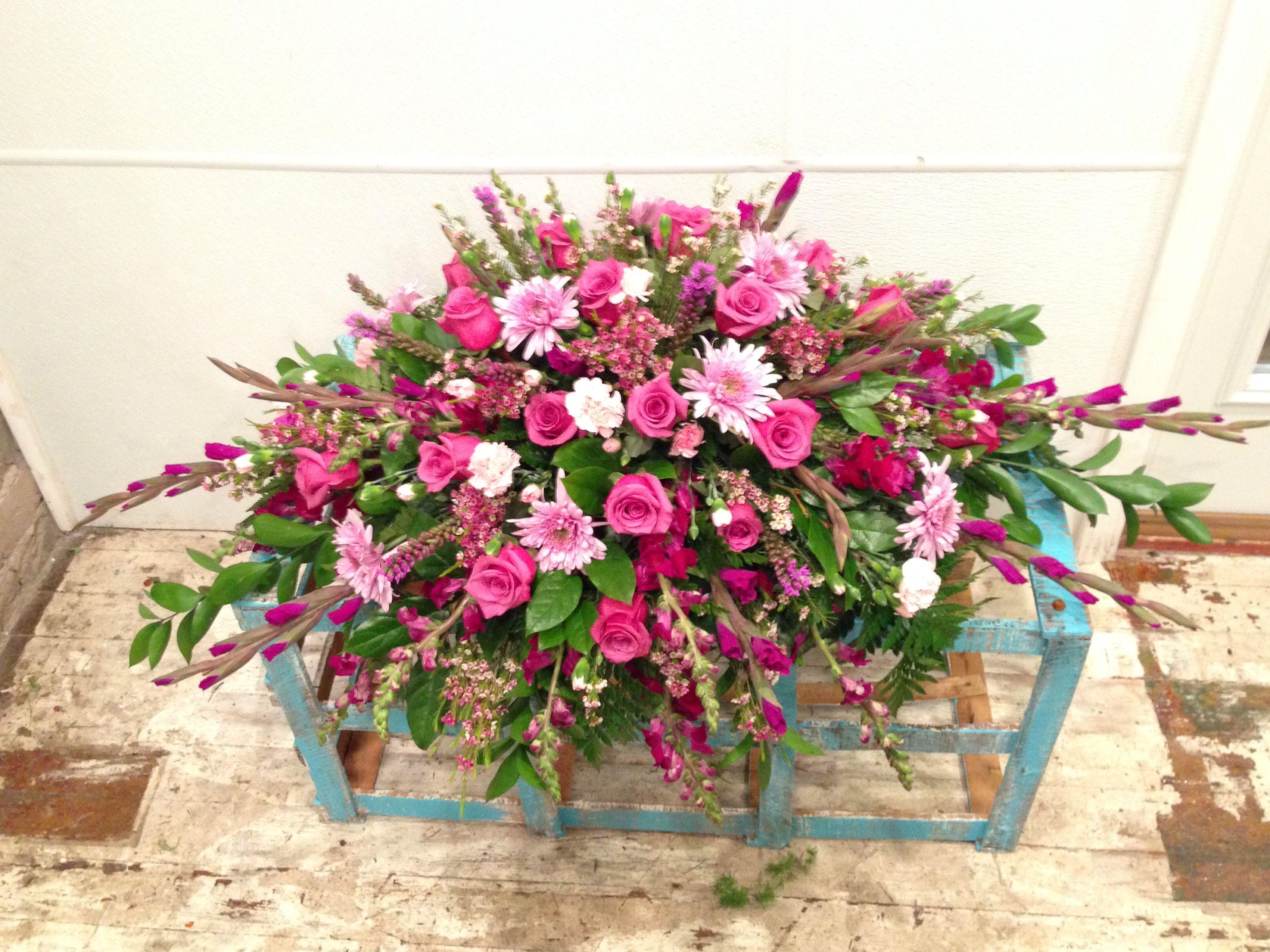 Funeral spray in purples, lavender and pinks. | Funeral ...  |Casket Flowers