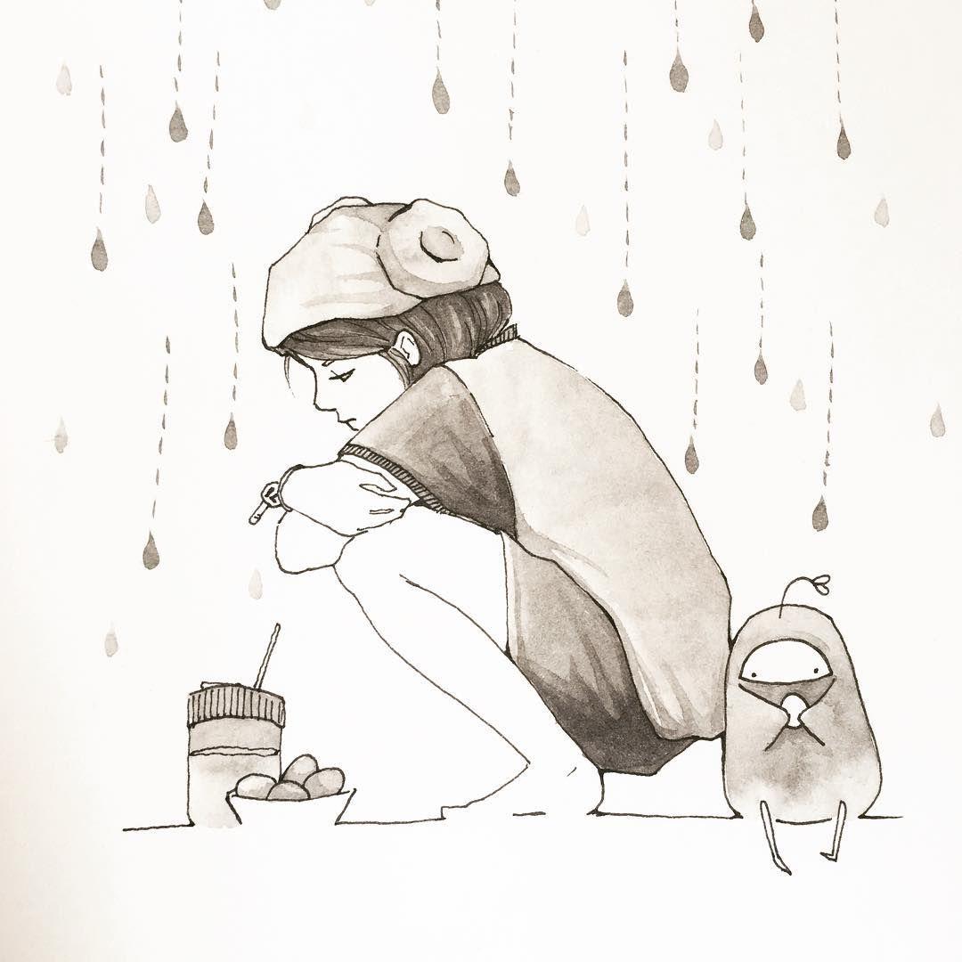 겨울비가 내릴땐 찜질방이 그립다 #WinterRain #koreanspa #illustration #drawing #inkdrawing #ink #artstagram #art #dailydrawing #raindrops #handdrawing #그림스타그램 #손그림 #그림 #스케치 #펜화 #잉크 #찜질방 #겨울비 #일러스트