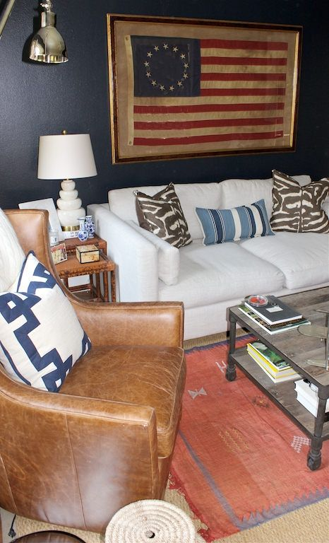 Navy Den White Sofa Leather Chair Framed Flag In 2019