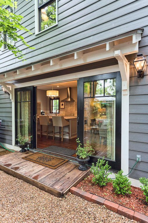 You Saw The Front Door Inspiration Last Week. The Back Door For My Clients  Home On The River. I Live The Black Door With White Trim, Double Wide  Opening And ...