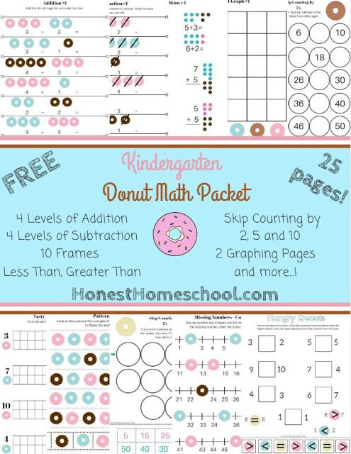 FREE Kindergarten Math Packet - 25 Pages! Great worksheets fit for k ...