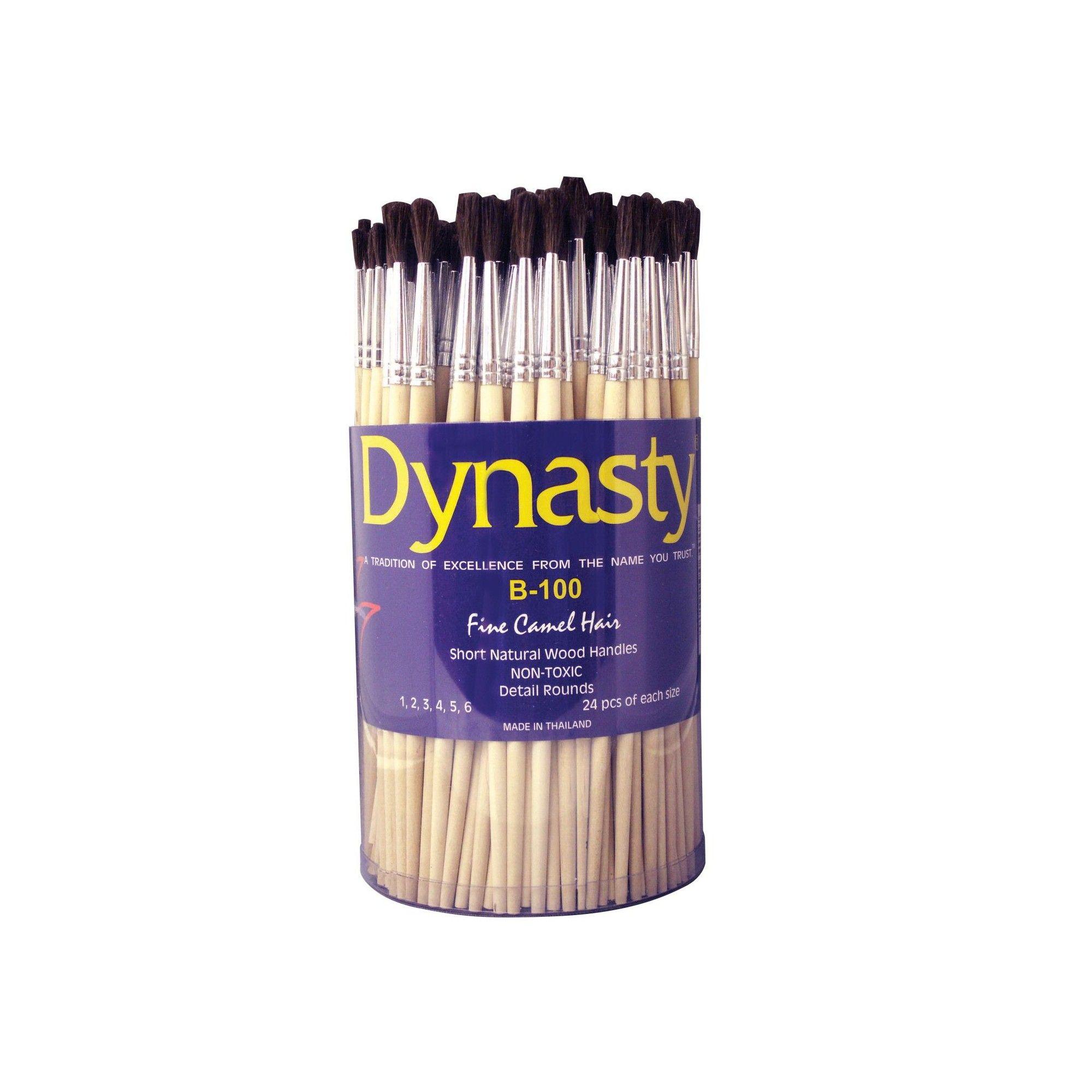 Dynasty B-100 Round Fine Camel Hair Short Wood Handle Paint Brush Assortment,