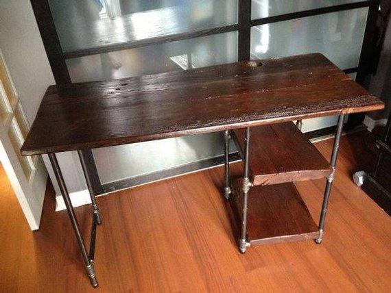 pipe desk with shelves rustic desk industrial pipe desk wood rh pinterest com