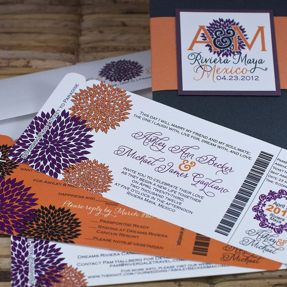 what to charge for wedding invitations%0A Boarding Pass Invitation or Save the Date  Orange and Purple Vibrant  Blooms   Deposit and Design Fee