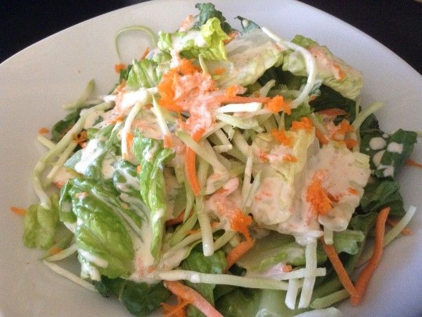 Japanese Mayo with Soy Sauce Type Salad Dressing ~ ~ ~ ~ ~ ~ ~I love this stuff!!! Kind of an east meets west style salad dressing. Very easy to make in a mini food processor. Feel free to substitute with a low fat mayo. This would also be great over chicken or fish. My 2 y.o. loves this!