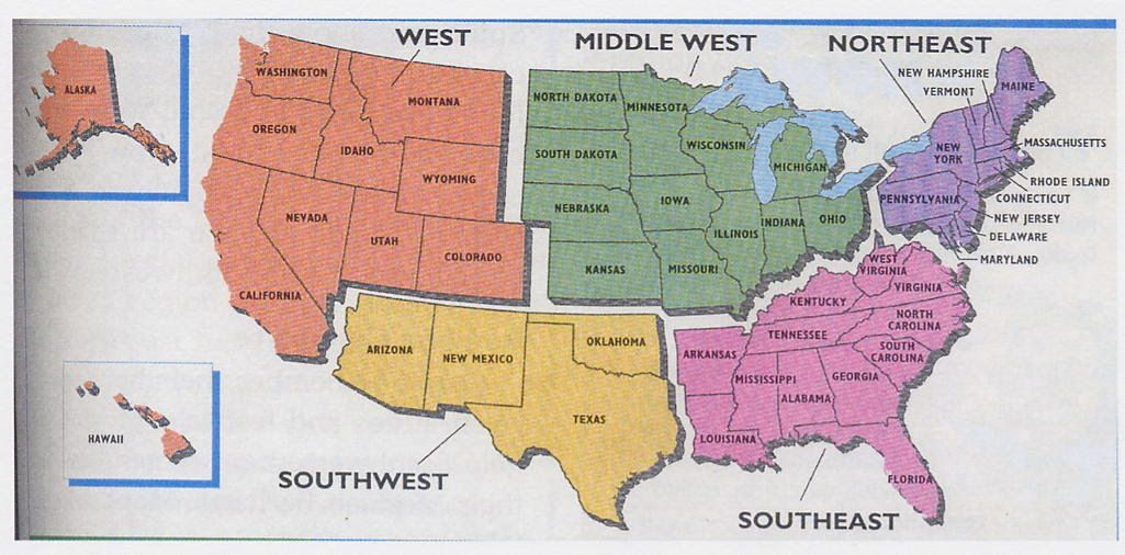 Us Region Map And Free Worksheet Fifth Mpes School - South us region map