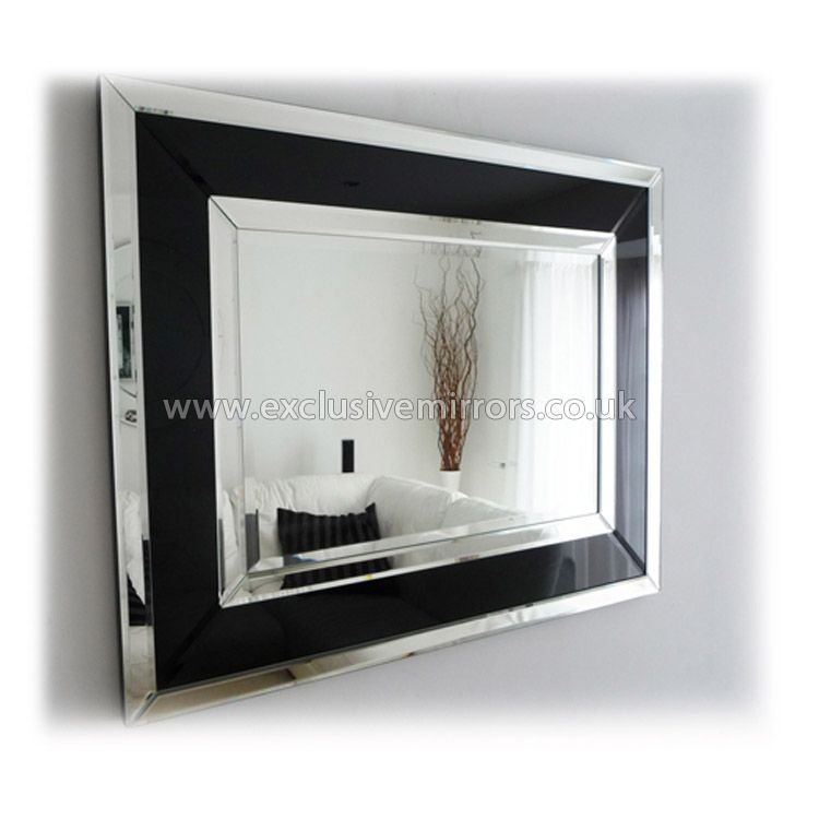 Art deco modern black clear wall mirror 91 x71 cm for Large contemporary mirrors