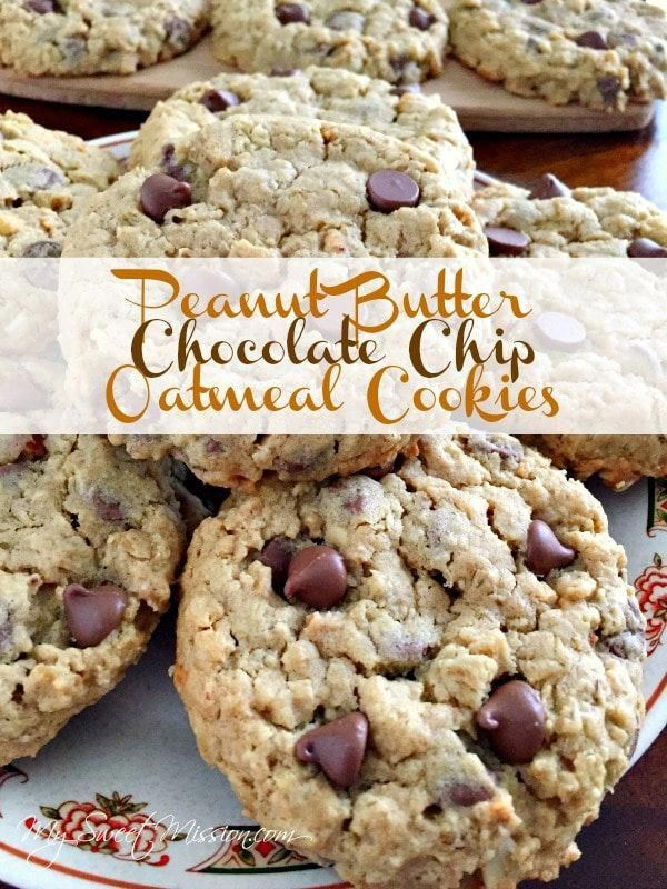 Peanut Butter Chocolate Chip Oatmeal Cookies might just become your new favorite cookie because they taste like peanut butter and chocolate heaven in a thick almost grano...