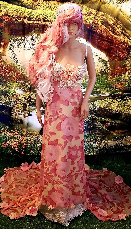 mauve pink wedding dress