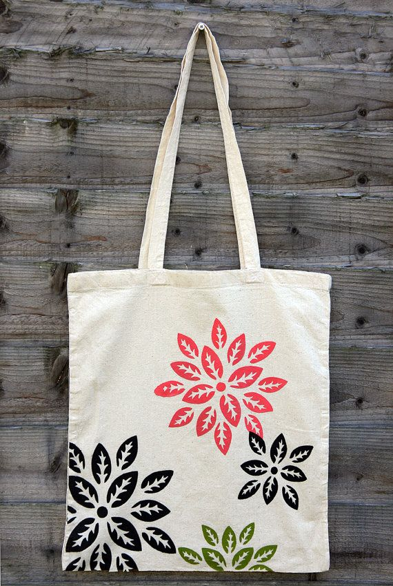 Flowers Stencil Hand Printed Large Cotton Tote Bag By Pieceofprint