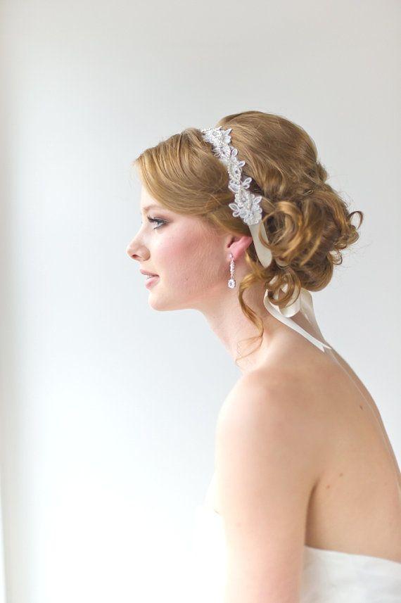 Bridal Ribbon Headband Bridal Lace Headband by PowderBlueBijoux, $69.00