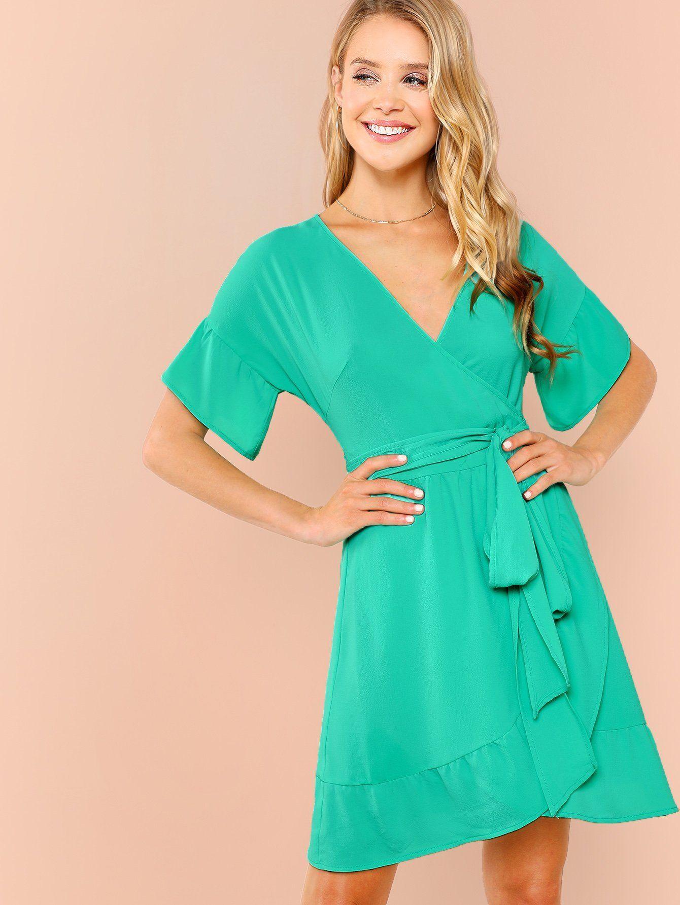 Flounce Sleeve Surplice Wrap Dress Fashion Clothing Dresses Wrap Dress Womens Trendy Dresses Fashion [ 1785 x 1340 Pixel ]